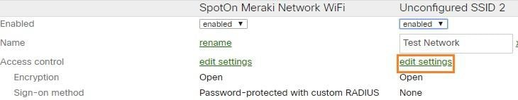 access control settings - Cisco Meraki