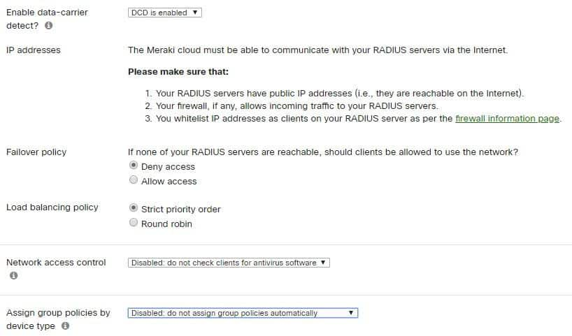 radius settings 2 - Cisco Meraki