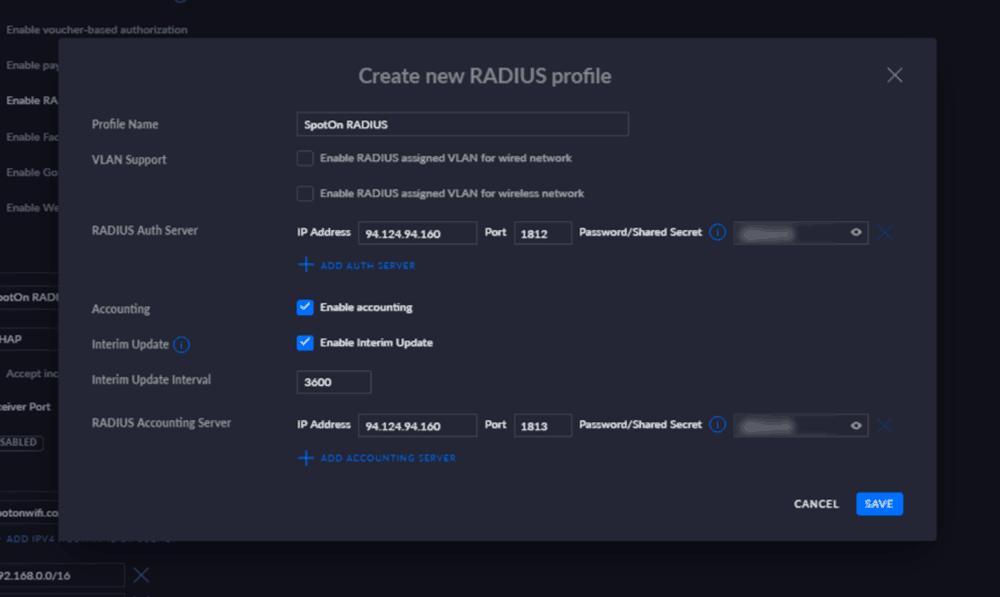 radius settings - Ubiquiti Unifi