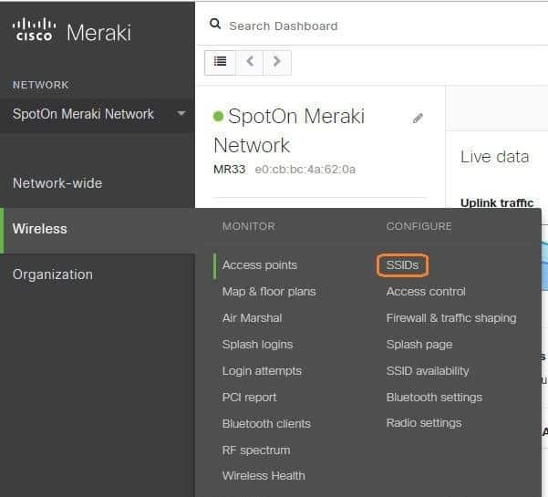 wireless ssid - Cisco Meraki