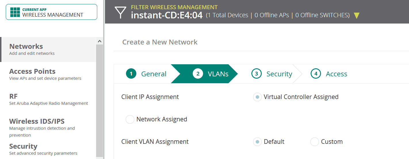 3 vlan 1 - Aruba iAP (via Aruba Central)