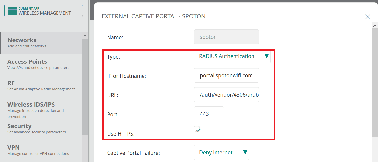 4 portal profile - Aruba iAP (via Aruba Central)